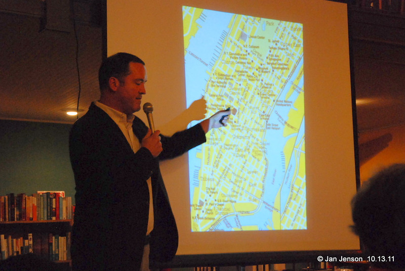Sam Stephenson points to a New York city map where the Jazz Loft was located - right in the heart of the wholesale flower district... at 821 Sixth Avenue, NYC.