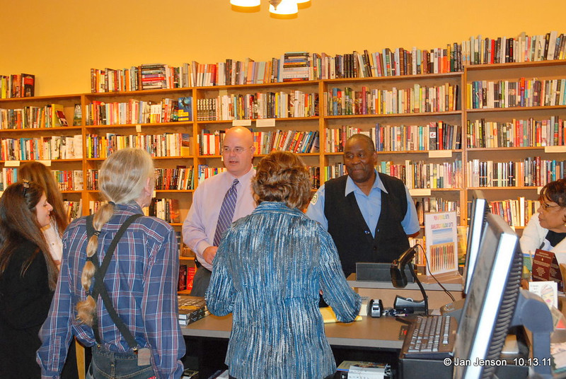 Crowd at the Literary Bookpost in Salisbury, NC on Thursday, October 13, 2011... people buying Sam Stephenson's Jazz Loft Project book.
