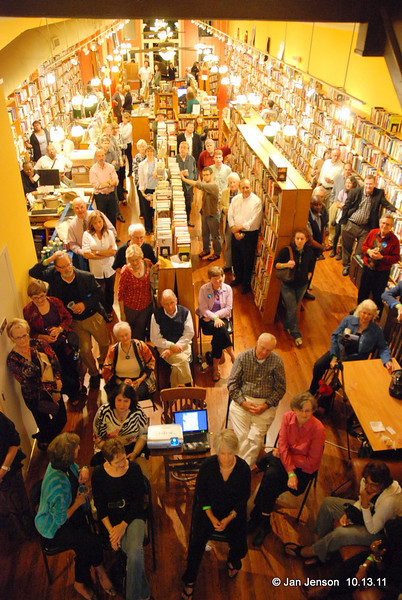 Crowd shot (from the balcony where the musicians played) at the Literary Bookpost in Salisbury, NC for the October 13, 2011 book-signing by Sam Stephenson and wine tasting from the Salisbury Wine Shop (next door).