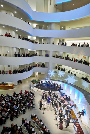 Dec.17, 2018, 2018 - Guggenheim Museum - Works and Process presents its' annual Holiday Concert  Traditional music along with new Works & Process commission by composer Sarah Kirkland Snider, inspired by the Guggenheim's exhibition Hilma af Klint: Paintings for the Future. George Steel conducts the Vox Vocal Ensemble  Photographer- Robert Altman Post-production- Robert Altman