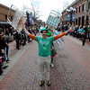"Matt Cutter leads the Paddy O'Furniture Drill team in the double rainbow formation during the parade.<br /> The 2012 World's Shortest St Patrick's Day Parade was held in front of Conor O'Neill's off the Pearl Street Mall in Boulder.<br /> For more photos and a video, go to  <a href=""http://www.dailycamera.com"">http://www.dailycamera.com</a>.<br /> Cliff Grassmick / March 11, 2012"