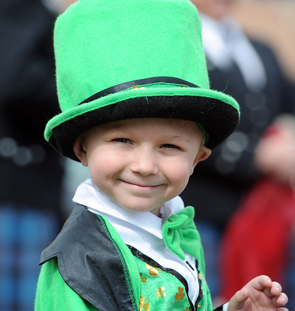 "Grant Niemann gives his best Irish smile before the parade began.<br /> The 2012 World's Shortest St Patrick's Day Parade was held in front of Conor O'Neill's off the Pearl Street Mall in Boulder.<br /> For more photos and a video, go to  <a href=""http://www.dailycamera.com"">http://www.dailycamera.com</a>.<br /> Cliff Grassmick / March 11, 2012"