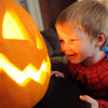 """Michael Fairchild, 2, gets eye to eye with a pumpkin at the Kappa Kappa Gamma house on Sunday.<br /> The Kappa Kappa Gamma Society at the University of Colorado held the 7th annual Halloween House to benefit BoulderReads.<br /> For more photos at Kappa Kappa Gamma, go to  <a href=""""http://www.dailycamera.com"""">http://www.dailycamera.com</a>.<br /> Cliff Grassmick / October 28, 2012"""