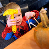 "Michael Fairchild, 2, hammers in some tees in a pumpkin at the Kappa Kappa Gamma house on Sunday.<br /> The Kappa Kappa Gamma Society at the University of Colorado held the 7th annual Halloween House to benefit BoulderReads.<br /> For more photos at Kappa Kappa Gamma, go to  <a href=""http://www.dailycamera.com"">http://www.dailycamera.com</a>.<br /> Cliff Grassmick / October 28, 2012"
