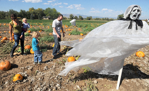"""Amy Hayes brings her daughter, Lillian, out to the Munson Farms pumpkin patch with Ulysses Paulsrud and father, Erik Paulsrud.<br /> For more photos of Munson Farms, go to  <a href=""""http://www.dailycamera.com"""">http://www.dailycamera.com</a><br /> Cliff Grassmick / September 29, 2012"""