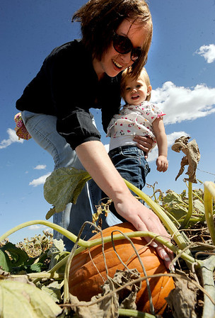 """Amanda Rogers helps Rachel Zimmerman, 1, pick out a pumpkin on Thursday at Rock Creek Farm, North of Broomfield.<br /> For a video and more photos of pumpkin picking, go to  <a href=""""http://www.dailycamera.com"""">http://www.dailycamera.com</a>.<br /> Cliff Grassmick / October 6, 2011"""