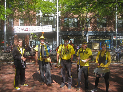 The Expandable Brass Band in Davis Square en route to the Opening ceremony of HONK!