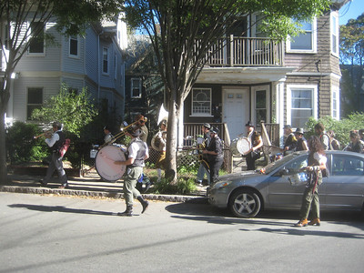 Another band on the way to another performance  -- a common sight all Saturday afternoon in Somerville