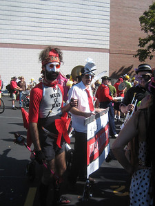 Gregory of Hungry March Band recognized us from Balkan Camp and asked if one of us could help push a cart of props.  Sure!