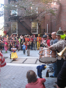 Children enjoying a band from Italy