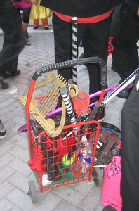 Here's the cart full of Hungery March Band props which I pushed in the parade.