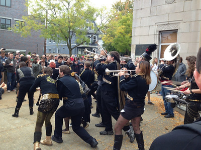 The Detroit Party Marching Band playing in front of Dilboy Hall.  3pm Saturday.
