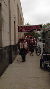 Here comes the FORWARD Marching Band at 4pm for their gig at Dilboy Hall.