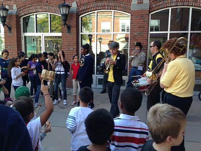 "We played while youngsters rapped at the Charlestown Boys and Girls Club, as part of ""HONK! in the Neighborhood""."