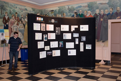 Lobby display (side 1) (graphic design and display preparation/execution by Paul Stapp; scanning  of archival material  and much of the photography by David Friedlander) [with Phillip Hummel]-- HSO 25th Anniversary concert