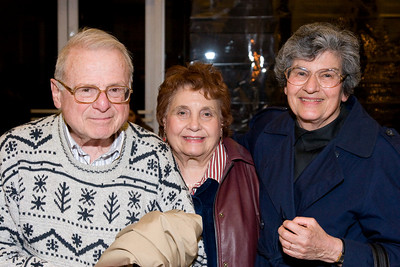 Eva & Ernest Silversmith (with Harriet Cohen (HSO volunteer) inbetween) -- HSO 25th anniversary post-concert Gala