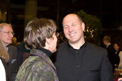 Jed Gaylin chats with Mary Ellen Porter, formerly the primary university liaison to the HSO (Jed's father Ned Gaylin on left, background) -- HSO 25th anniversary post-concert Gala