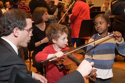 Andy White (violin) with Rafael F. and another child -- Hopkins Symphony Orchestra, March 2008