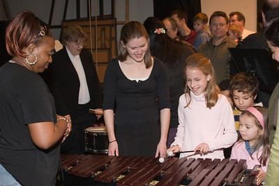 Jessica Gifford with children -- Hopkins Symphony Orchestra, March 2008
