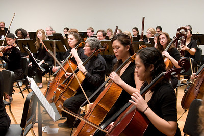 Cello section (L-R, Sharon Aldouby, Eva Silversmith, Stephanie Hsu, Leilani Ma)-- Hopkins Symphony Orchestra, March 2008