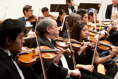 Sebastian Kwon, Bill Brown, Rochelle Dumm, violins -- Hopkins Symphony Orchestra, March 2011