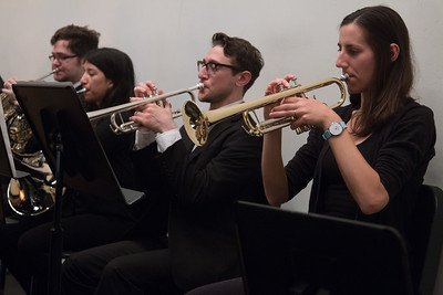 Erin Zaroukian (right), Michael Damiani , trumpets -- and Hopkins Symphony Orchestra, April 2017