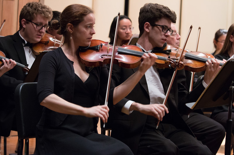 Elizabeth Devereux, Forrest Hammel (Colin McGregor behind left)  -- Hopkins Symphony Orchestra, April 2017