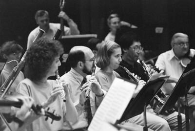 HSO, Sept 1992: Karen Dilly (Yanson), Steve Haaser, Elizabeth Lipnick (Brock), Keith Kaneda, Zsigmund (John) Toth. Background: Margaret Pusztai (bassoon), David Starck and May Raila (basses)