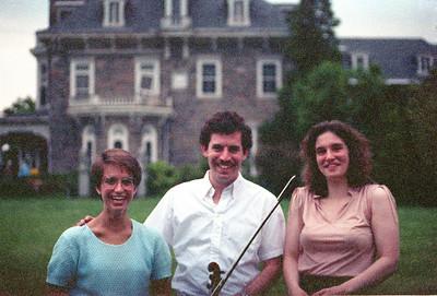 1990 HSO concert at Evergreen House: Laurie Buzak (White), David Friedlander, Jennifer Emtage