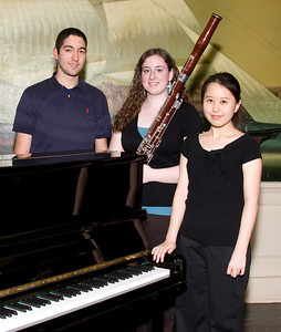 Ji Hea Hwang, piano, and Katie Fitzgibbon, bassoon with Hernan del Aguila (founder/organizer) -- 2008 HSO concerto competition (1st annual) winners and organizer