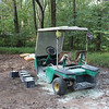 The golf cart that coaught on fire by our Porta Potties.
