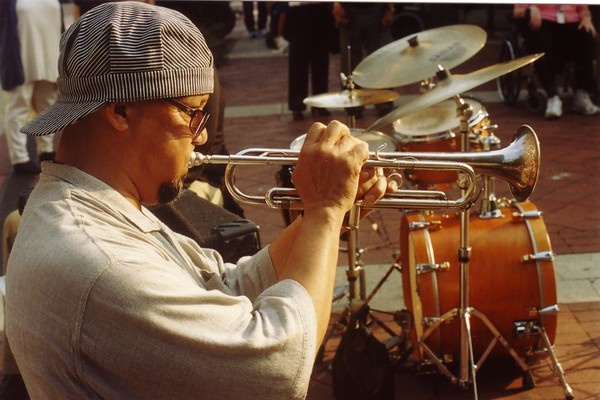 golden Light and specatular horn playing out on Main Street. Tex had been getting his chops back after his stint in Beruit and Europe..and his playing proved it