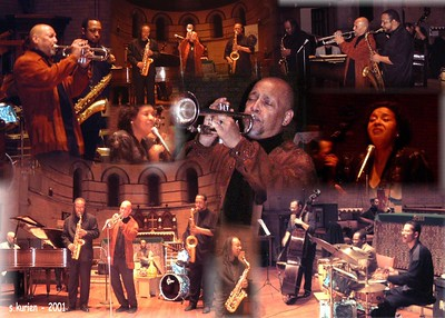 Tex Allen- Photo Montage for business card and postcard - This was an amazing concert in the fall of 2001..9/11 was hanging heavy and the spirituality , passion and depth of this concert reflected the time. This unit was phenomenal with the brothers Johnson anchoring the rhythm section,.  John Lewis honored the event by his presence..he passed away a year or so later.