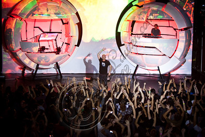 "HOLLYWOOD, CA - MAY 12:  Amit ""Duvdev"" Duvdevani (L) and Erez Eisen of Infected Mushroom perform at Avalon on May 12, 2012 in Hollywood, California.  (Photo by Chelsea Lauren/Getty Images)"