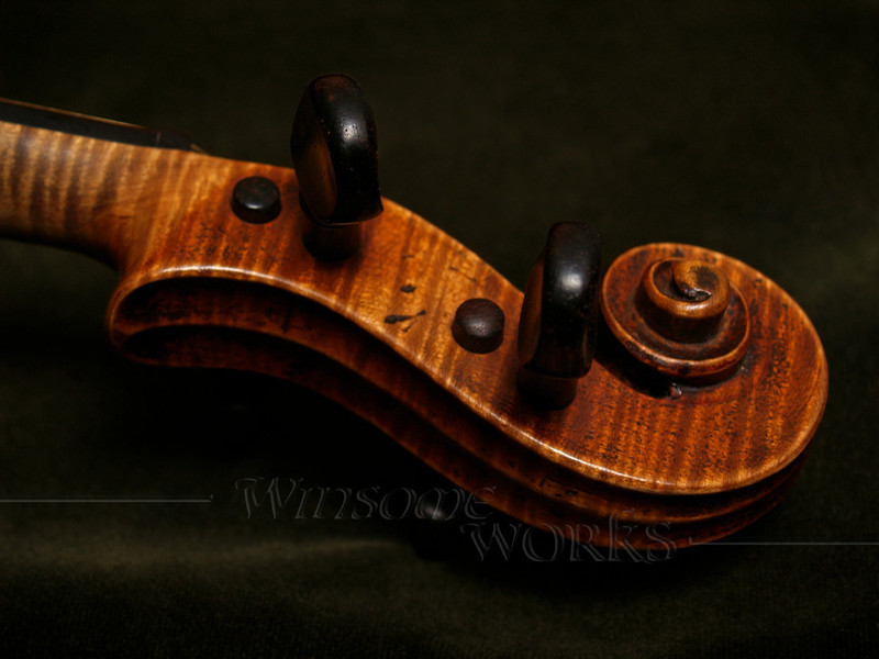 Violin Scroll on Dark Green Velvet   [darker version of a previous photo]