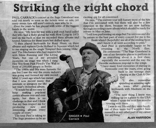 Paul Carrack interview in Sunday Sun newspaper
