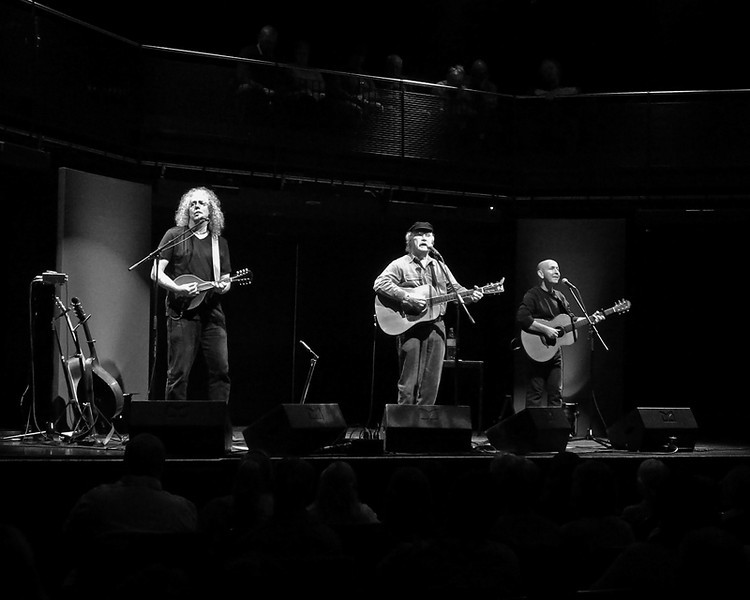 Folk legend Tom Paxton, Robin Bullock and Irish singer-songwriter Kieran Goss at Sage Gateshead