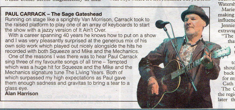 Paul Carrack gig review in Sunday Sun newspaper