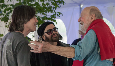 Jackson Browne, Carlos Varela and Pete Seeger enjoying a laugh before the 2011 Clearwater sponsors concert.