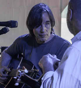 Jackson Browne at sound check with John Hall.  2011 Clearwater Festival, sponsors concert.