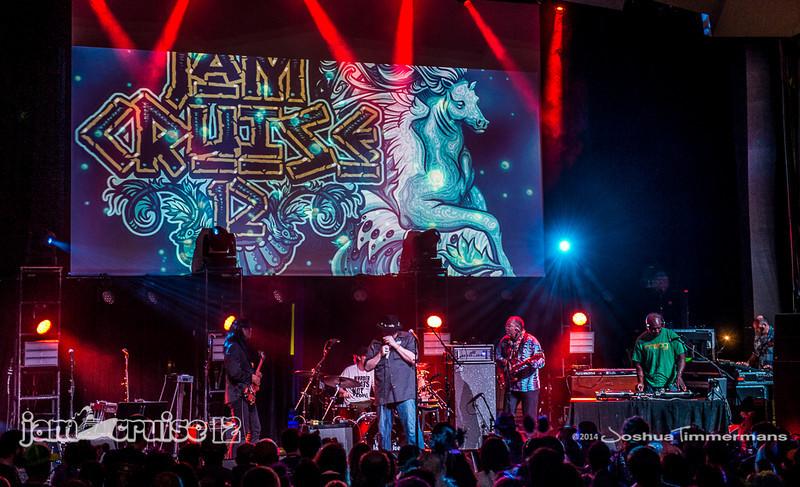 John Popper & DJ Logic with Stanley Jordan, George Porter JR, and Adam Deitch - Purple Power Night - Jam Cruise 12 - Pantheon Theater - 1/6/14 - MSC Divina. ©Josh Timmermans 2014
