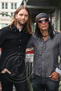 LOS ANGELES, CA - MAY 03:  Guitarist James Valentine of Maroon 5 (L) and producer Native Wayne Jobson attend the MI conversation series at Musicians Institute Concert Hall on May 3, 2012 in Los Angeles, California.  (Photo by Chelsea Lauren/WireImage)