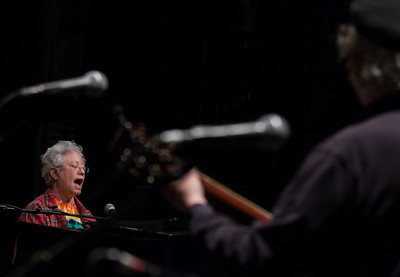 Janis Ian at sound check with Tom Paxton.