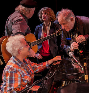 Janis Ian with David Amram. Tom Paxton and Adira Amram in the back.  Sound check at Music Hall, Tarrytown, NY.
