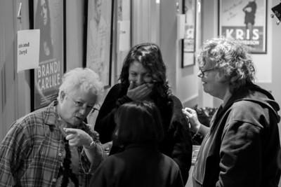 Janis Ian, Lucy Kaplanski and Cheryl Wheeler outside the green room at Music Hall, Tarrytown, NY.