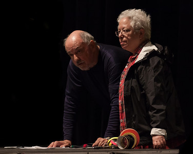Janis Ian with ???, stage manager, going over details before sound check at Music Hall, Tarrytown, NY.