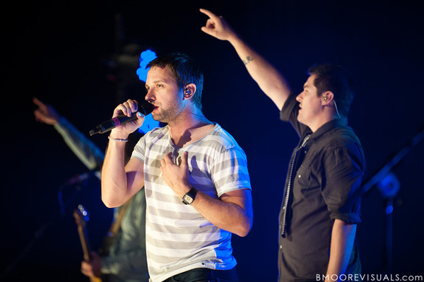 Brandon Heath joins Dan Haseltine of Jars of Clay during the band's encore on October 23, 2010 at Countryside Christian Center in Clearwater, Florida
