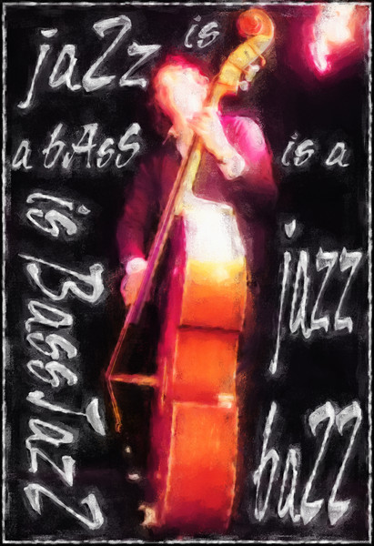 Jazz is.<br /> Daniel Franck, bass at WrayClub, Copenhagen.<br /> Photo painted with digital chalk brush in Corel Painter.