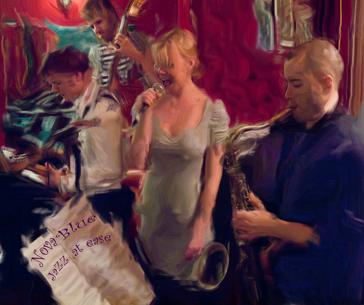 Nova Blue.<br /> Guitar Troels Frost, Bass Anders Mandrup, vocal Line Bøgh and sax Steve Green of Nova Blue band at Tango Y Vinos Bar, Copenhagen, Denmark.<br /> Photo painted with digital smeary oil brush in Corel Painter.