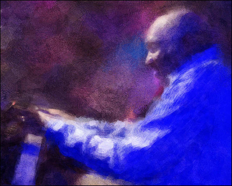 Piano Wave.<br /> Harold Mabern: piano at Paradise Jazz Club, Copenhagen.<br /> Photo painted with digital impressionist chalk brush in Corel Painter + texture layers.